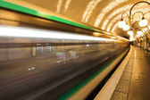 Parisian Metro in motion blur — 图库照片