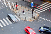 Top view of a traffic scene at a street junction — Stock Photo