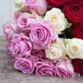 Rose bouquet with pink, white and red roses — Stock Photo