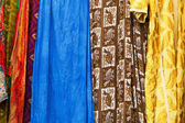 Colorful cloths in a bazaar of Marrakesh, Morocco — Foto Stock