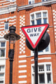 Traffic sign -Give Way- in London, England — Stock Photo