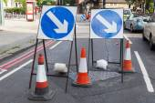 Barrier at a road construction — Stock Photo