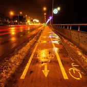 Wintry night scene street with cycle lane and christmas decoration — Stock Photo