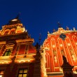 House of the Blackheads in the old town of Riga, Latvia, at night — Stock Photo #55024493