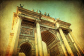 Vintage style picture of the Arco della Pace in Milan, Italy — Stock Photo