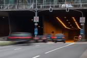 City traffic in motion blur — Stock Photo