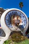 Dragon sculpture in the Park Guell from Antoni Gaudi in Barcelona — Stock Photo