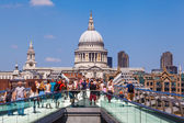 Millennium Bridge in London with the St Pauls Cathedral in the background — Stock Photo