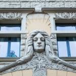 Art Nouveau facade of a historical building in Riga, Latvia — Stock Photo #55269173