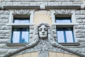 Art Nouveau facade of a historical building in Riga, Latvia — Stock Photo