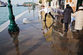 High tide on a boardwalk in Venice, Italy — Stock Photo