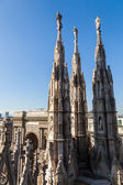 Spires on top of the Milan Cathedral in Milan, Italy — Stock Photo