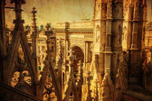 Vintage style picture of spires of the Milan Cathedral in Milan, Italy — Stock Photo
