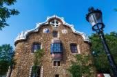 Artistic buildings in the Park Güell in Barcelona, Spain, designed by Antoniy Gaudi — Stock Photo