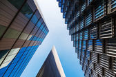 Modern buildings in a low angle view in London, near the City Hall — Stock Photo