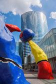 Colorful modern sculptures in La Defense in Paris, France — Stock Photo