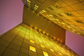 Low angle view of a modern office tower at night in La Defense, Paris, France — Stock Photo