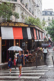Rainy day in the historical Montmartre district in Paris, France — Foto Stock