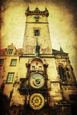 Vintage style picture of the Old Town City Hall Tower with a famous astronomical clock in Prague, Czechia — Foto Stock
