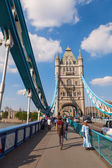 On the famous Tower Bridge in London, UK — Stock Photo