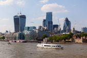 View of the City of London from the other side of the Thames in London, UK — Stock Photo