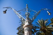 Old street lamp in Modernism style in Barcelona, Spain — Stock Photo