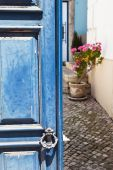 Idyllic picture of an old door with a view to the patio with a pot Geranium flowers — Stock fotografie