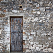 Old stone wall with an old wooden door — Foto de Stock   #56087149