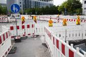 Road construction zone with barriers — Stock Photo