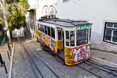 Antique funicular with graffiti in Lisbon, Portugal — Stock Photo