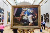 À l'intérieur du célèbre Musée du Louvre à Paris, France — Photo