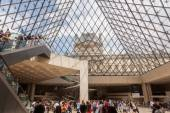 Inside of the Louvre Museum with view through the glass dome in Paris, France — Stock Photo