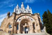 Temple Expiatori del Sagrat Cor on the Tibidabo hill in Barcelona, Spain — Stock Photo