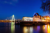 Night view of Cologne, Germany, with the Chocolate Museum and the Severins Bridge — Stock Photo