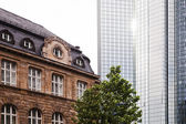 Old building and modern skyscraper in Frankfurt am Main, Germany — Stock Photo