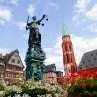 Old town with the Justitia statue in Frankfurt, Germany — Stock Photo #56239415