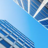 Modern office buildings in a low angle view — Stock Photo