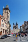 Historical City Hall Tower at the Old Town Square in Prague, Czechia — Foto Stock