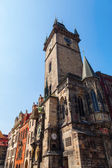 Historical tower of the historical town hall with the famous astronomical clock in the old town of Prague, Czechia — Stok fotoğraf