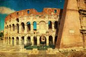 Vintage style picture of the colosseum in Rome, Italy — Stock Photo