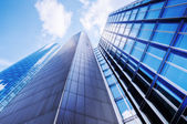 Modern skyscrapers in a low angle view — Stock Photo
