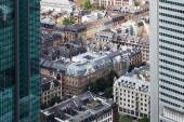 Old city buildings in an aerial view between two skyscrapers in Frankfurt am Main, Germany — Stock Photo