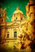 Vintage style picture of a fountain in front of an old church at the Piazza Navona in Rome, Italy — Stock Photo