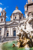 Fountain in front of an old church at the Piazza Navona in Rome, Italy — Stock Photo