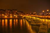 View of the Ile de la Cite in Paris, France, at night — Stock Photo