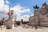 At the Vittoriano memorial in Rome, Italy — Stock Photo