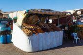 Market stall on the square Djemaa el Fnaa in Marrakech, Morocco — Stock Photo