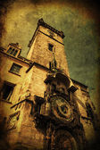 Vintage textured picture of the famous tower of the town hall with astronomical clock in Prague, Czechia — Stockfoto