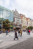 Wenceslas Square in Prague, Czechia — Stockfoto