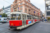 New Town with old tram in Prague, Czechia — Stok fotoğraf